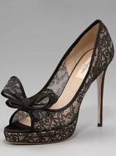 NIB! CURRENT! VALENTINO GARAVANI LACE PLATFORM BOW PUMPS 41 US 10.5/ 11
