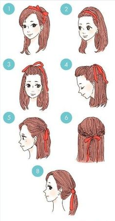 Easy Everyday Hairstyles Step By Step For Girls diy hairstyles easy Kawaii Hairstyles, Pretty Hairstyles, Cute Hairstyles, Braided Hairstyles, Braided Updo, Wedding Hairstyles, Ribbon Hairstyle, Updo Hairstyle, Easy Everyday Hairstyles