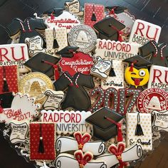 Graduation Cookies, Graduation Cap Decoration, Graduation Ideas, Class 2017, Radford University, Cap Decorations, Sweet Cookies, Custom Cookies, Grad Parties