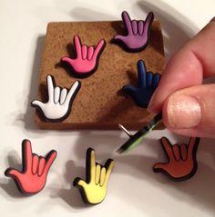 ILY push pins - deaf, deaf culture, american sign language; asl    WANT