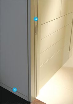 Minimalist - Flush baseboard. this size looks more like a 50 or 70mm high skirting than 90mm.  Door shadowline goes right to floor