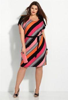Avenue Plus Size Pink Bias Stripe Belt Dress Trendy Plus Size Clothing, Plus Size Fashion For Women, Plus Fashion, Simply Fashion, Womens Fashion, Fashion News, Plus Size Dresses, Plus Size Outfits, Look Plus Size
