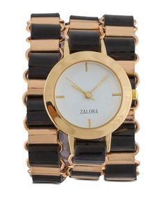 Chained Triple Tour Wrap Watch by ZALORA, round watch with a combination of black and gold color, analog watch with triple wrap watch style, adjustable lobster clasp fastening, pair this gorgeous watch with black dress or blouse for a casual or formal style. http://www.zocko.com/z/JGw70
