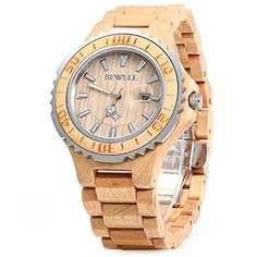 BEWELL ZS Wooden Watch Men Quartz with Luminous Hands 30M Water Resistance (MAPLE WOOD)