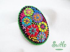 Brooch Textile Firework | Felt Brooch | Textile Art Jewelry | Idea for Gift | Creative Original Unusual Pin | Green Color Base