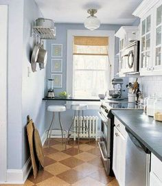 Hmmm, can I mount my microwave? Small Galley Kitchen Ideas Bright Kitchen