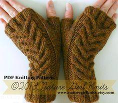 PDF KNITTING PATTERN // Cable Knit Fingerless by naturegirlknits