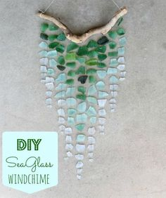 One of your favorite DIY's is back! The ombre sea glass wind chime DIY is a reader favorite. Summer is here and it's the perfect time to collect sea glass at the beach. Put those seaside treasures to use and create a beautiful wind chime. Sea Glass Crafts, Sea Glass Art, Sea Glass Jewelry, Stained Glass, Sea Glass Decor, Glass Vase, Diy Wind Chimes, Glass Wind Chimes, Seashell Wind Chimes