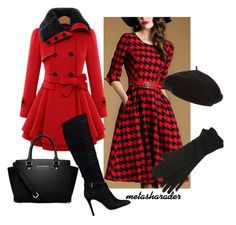 """""""Red Houndstooth"""" by metasharader on Polyvore featuring GUESS, Harrods, M&Co, MICHAEL Michael Kors, women's clothing, women's fashion, women, female, woman and misses"""