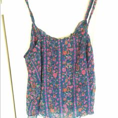 Floral Print Lightweight Tank Super lightweight cami tank with adjustable straps. Perfect for super hot summer days - breathable fabric. Can be worn low in back or can raise straps. Good over swimsuit or bralette or with strapless bra. Worn once, in excellent condition. Forest green, indigo, fuchsia color scheme. Crochet detailing at front top of tank. Could fit small or medium. Price firm. American Eagle Outfitters Tops Tank Tops