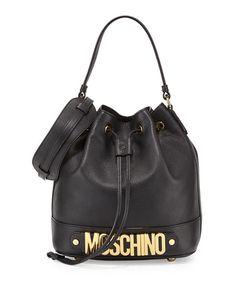 MOSCHINO Logo Leather Drawstring Shoulder Bag, Black. #moschino #bags #shoulder bags #hand bags #leather #lining
