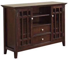 Simpli Home Bedford Dark Tobacco Wood TV Media Stand | 55DowningStreet.com