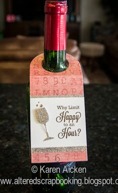 Scrapbooking: Four Wine Bottle Hangers My Favorite Things bottle crafts grapes Wine Bottle Tags, Wine Bottle Covers, Wine Tags, Wine Bottle Crafts, Wine Bottles, Wine Corks, Bottle Lights, Wine Gifts, Cork Crafts
