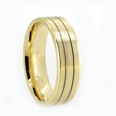 Yellow gold mens wedding ring, 6.5mm wide band with 2 ruthenium grooves, brushed finish, flat profile and comfort fit