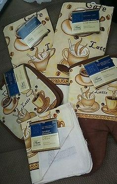 Kitchen Set Towels  Potholders Oven mitt dishcloth Coffee Latte Cafe 7 piece New