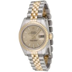 Pre-owned Rolex Ladies' Datejust 179173 ($5,530) ❤ liked on Polyvore featuring jewelry, watches, gold, bezel watches, stainless steel wrist watch, dial watches, stainless steel watches and leather-strap watches