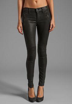 Hudson Jeans Stark Moto Skinny in Jet Black Coated