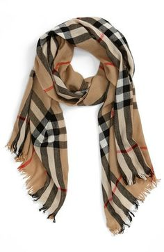 Burberry Check Merino Wool & Cashmere Scarf available at Cute Fashion, Womens Fashion, Beautiful Outfits, Beautiful Scarves, Pashmina Scarf, Gentleman Style, Cashmere Scarf, Scarf Styles, Playing Dress Up