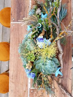 Succulents and roses on driftwood table flower decorations. Purple Flower Bouquet, Beautiful Bouquet Of Flowers, Purple Flowers, Flower Decorations, Wedding Decorations, Wedding Bouquets, Wedding Flowers, Driftwood Table, Bridal Table