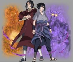Uchiha Itachi and Uchiha Sasuke. Itachi Uchiha, Madara Susanoo, Naruto Shippuden Sasuke, Naruto Art, Anime Naruto, Naruto And Sasuke Wallpaper, Wallpapers Naruto, Wallpaper Naruto Shippuden, Edo Tensei
