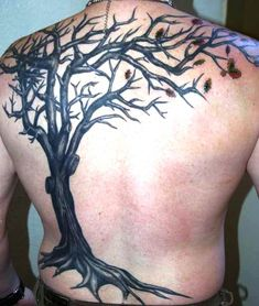 Black Tree Tattoo For Men On Back