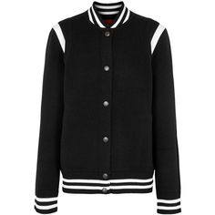 Givenchy Black Embroidered Jersey Varsity Jacket - Size XS ($1,285) ❤ liked on Polyvore featuring outerwear, jackets, embroidery jackets, givenchy jacket, letterman jackets, embroidered bomber jackets and flight jacket