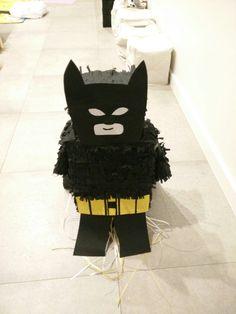 DIY Batman piñata from recycled boxes