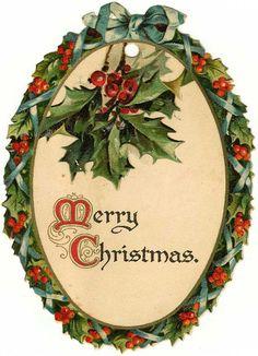"""Tag dom gratuito vintage: oval """"Feliz Natal"""" coroa de flores com azevinho"""