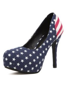 Stylish Blue Round Toe Flag Cloth Women's Platform Pumps