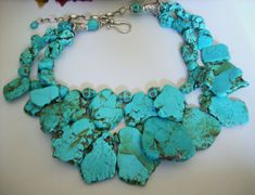 Turquoise Slab Statement Necklace by GeminiMoonBeads on Etsy