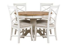 The Arles round extending dining table and four chairs are in the popular two-tone finish for a fresh, country living look. The table is round, or oval when extended. It has an attractive oak and oak veneer top, while the frame is painted in Off Whit...