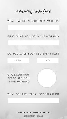 Instagram story template - morning routine | Get to know me, Q&A | #instagramstorytemplate #instagramstory #storytemplate #storytemps Instagram Templates, Instagram Story Template, Diy Birthday, Birthday Gifts, Detox Diet For Weight Loss, Blog Topics, Free Instagram, Social Marketing, Get To Know Me