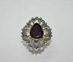 Pink Tourmaline Pear & Diamond Round Studded 14Kt Gold Ring