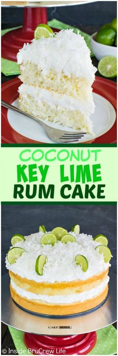 Coconut Key Lime Rum Cake - coconut frosting and a rum butter glaze adds a fun twist to this citrus cake! Great summer dessert recipe!