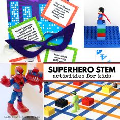 Superhero STEM Activities for Kids is part of Science Tools Stem Challenges - Inspire the superhero in your child with these fun Superhero STEM Activities that combine their favorite characters with science, coding, math, and more! Super Hero Activities, Kindergarten Math Activities, Science Activities For Kids, Steam Activities, Science Tools, Superhero Preschool, Superhero Classroom, Classroom Fun, Middle School Crafts