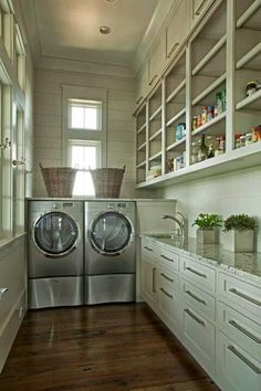 Browse laundry room ideas and decor inspiration. Discover designs for customized laundry rooms as well as closets, including utility room organization and storage Grey Laundry Rooms, Pantry Laundry Room, Laundry Room Organization, Small Laundry, Laundry Room Design, Kitchen Pantry, Mud Rooms, Laundry Area, Laundry Storage