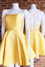 Spaghetti Straps Cute Yellow Homecoming Dresses,Graduation Dress sold by SheDress. Shop more products from SheDress on Storenvy, the home of independent small businesses all over the world. Yellow Homecoming Dresses, Yellow Party Dresses, Hoco Dresses, Event Dresses, Pretty Dresses, Sexy Dresses, Prom Dress, Graduation Dresses, Wedding Dresses