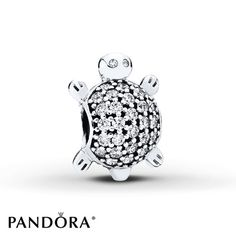 This sterling silver charm from the 2015 PANDORA Summer collection features a cute sea turtle with a sparkling shell of clear cubic zirconias. Style # 791538CZ.