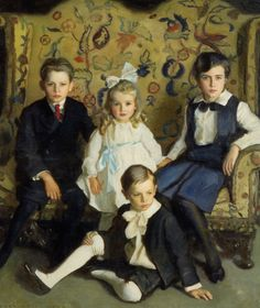 A Family Portrait of Four Children :: Harrington Mann - Children's portrait in art and painting