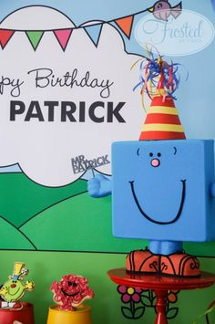"""Mr Men themed birthday for """"Mr Patrick"""" Man Birthday, Boy Birthday Parties, Birthday Party Decorations, Birthday Ideas, Men Party, Party Party, Teacher Party, Monsieur Madame, Party Activities"""