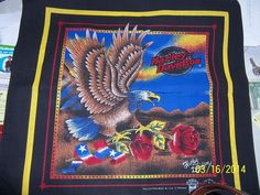 harley-davidson motorcycles bandanna eagle with red roses , stems in claws