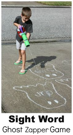Great idea for sight word practice: Be a Ghost Zapper. Plus 9 other learning activities for outside