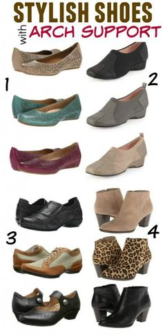 Stylish shoes with arch support should help support your natural alignment and prevent and relieve heel and foot pain. Here are a few of my favorites