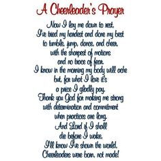 Cheerleaders Prayer! We need this on the back of a shirt <3