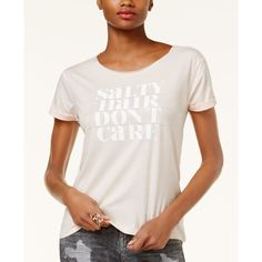 Guess Salty Hair Graphic T-Shirt ($29) ❤ liked on Polyvore featuring tops, t-shirts, new pearl blush, guess tops, guess t shirt, graphic t shirts, graphic design tees and graphic tops