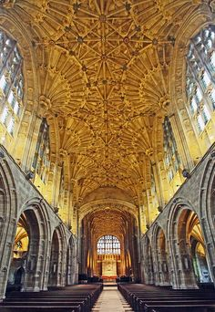 Sherborne Abbey, Dorset, England by Chris Thain. Founded in 705 AD. the nave and chancel looking east containing fan vaulting. Church Architecture, Beautiful Architecture, Beautiful Buildings, Dorset England, England Uk, Castles In England, Cathedral Church, Place Of Worship, Kirchen