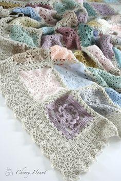 Cherry Heart: Sampler Blanket #crochetblanket #crochetinspiration