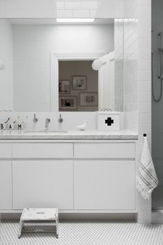 Ali Ross Design » » Armadale Home Bathroom Kids, Grey Bathrooms, Melbourne House, Modern Country, Industrial Style, Double Vanity, Home And Family, New Homes, Mirror
