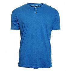 Stylové pánské bavlněné tričko sjemným melírem má úzký rovný střih skrátkým rukávem a kulatým výstřihem. Zapíná se ukrku na knoflíčky.