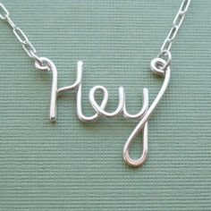 Hey Necklace all sterling silver by PianoBenchDesigns on Etsy